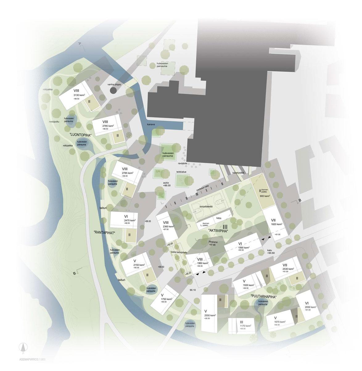 Arkkitehtuurikilpailuehdotus Kirjosiipi asemapiirros