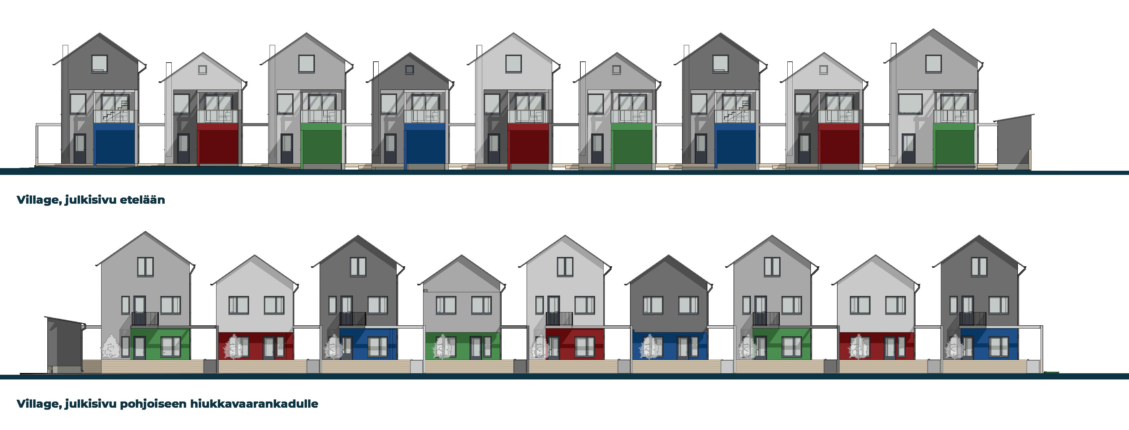 Hiukkavaaran Villagen julkisivukaaviot