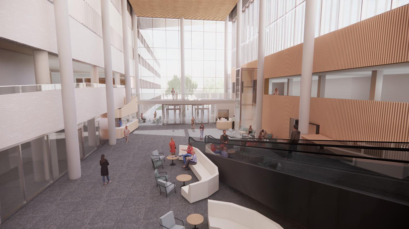 Jorvin sairaalan uuden osastorakennuksen hankesuunnitelmavaiheesta havainnekuva aulatilasta.