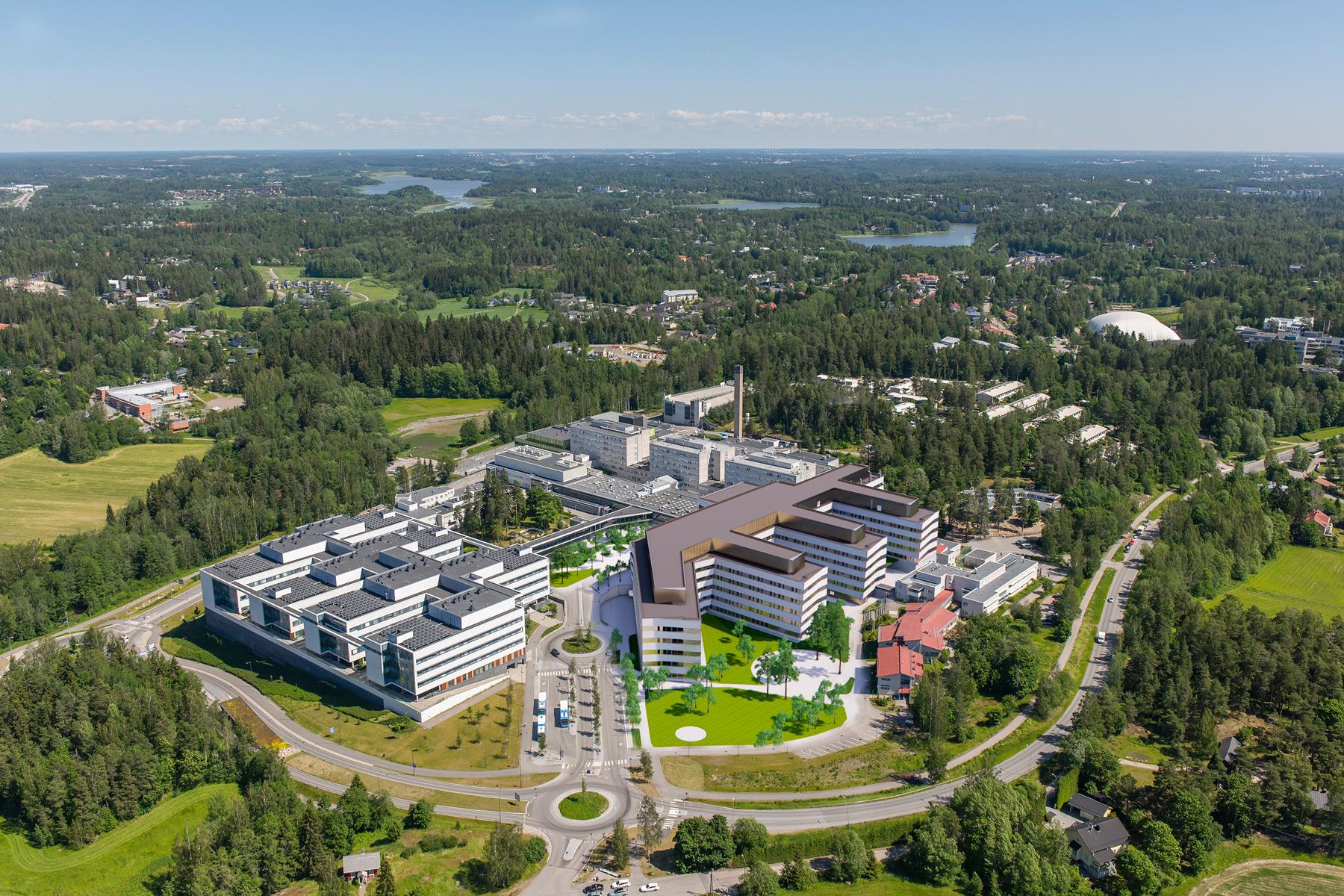 Jorvin sairaalan uuden osastorakennuksen hankesuunnitelmavaiheen ilmahavainnekuva.