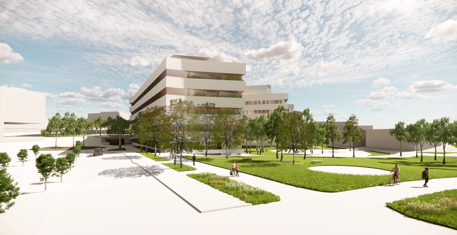 Jorvin sairaalan uuden osastorakennuksen hankesuunnitelmavaiheen ulkohavainnekuva.