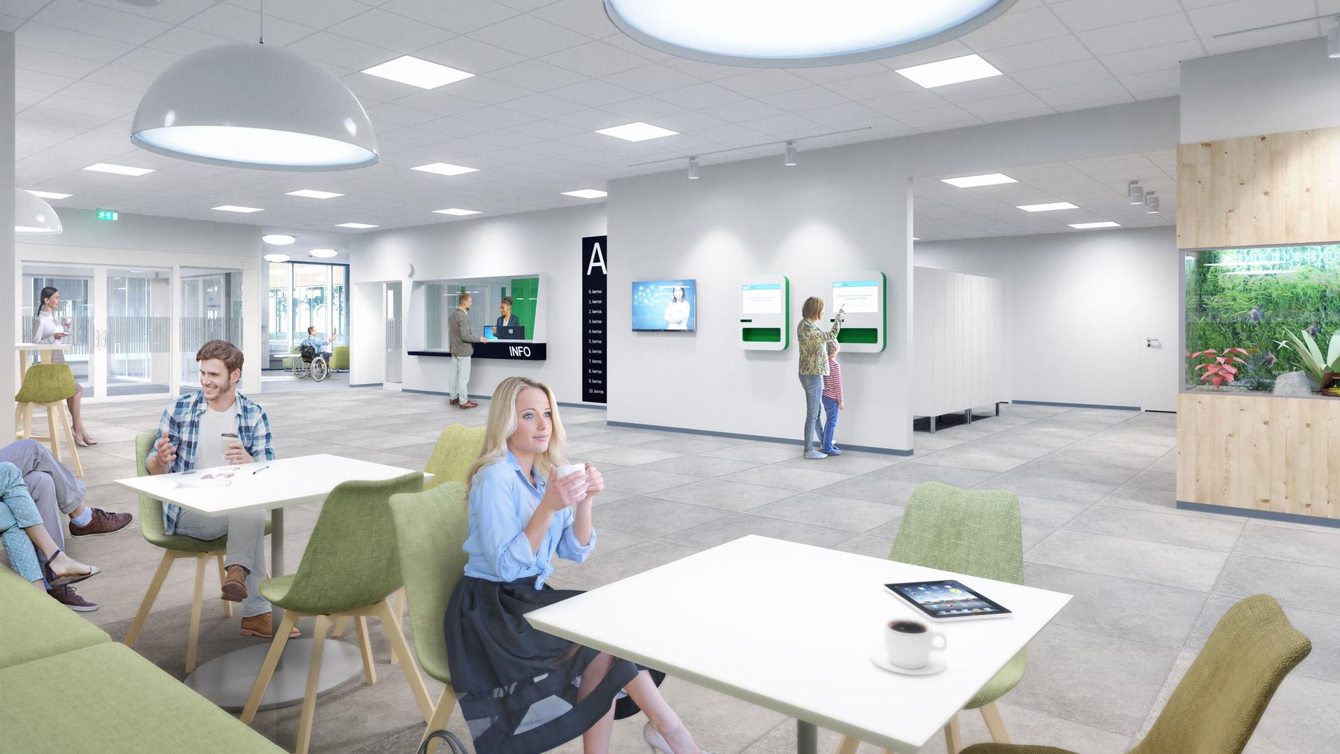 Havainnekuva OYS tulevaisuuden sairaalan ensimmäisen vaiheen suunnitelmista. Kuvassa A rakennuksen aulatilat