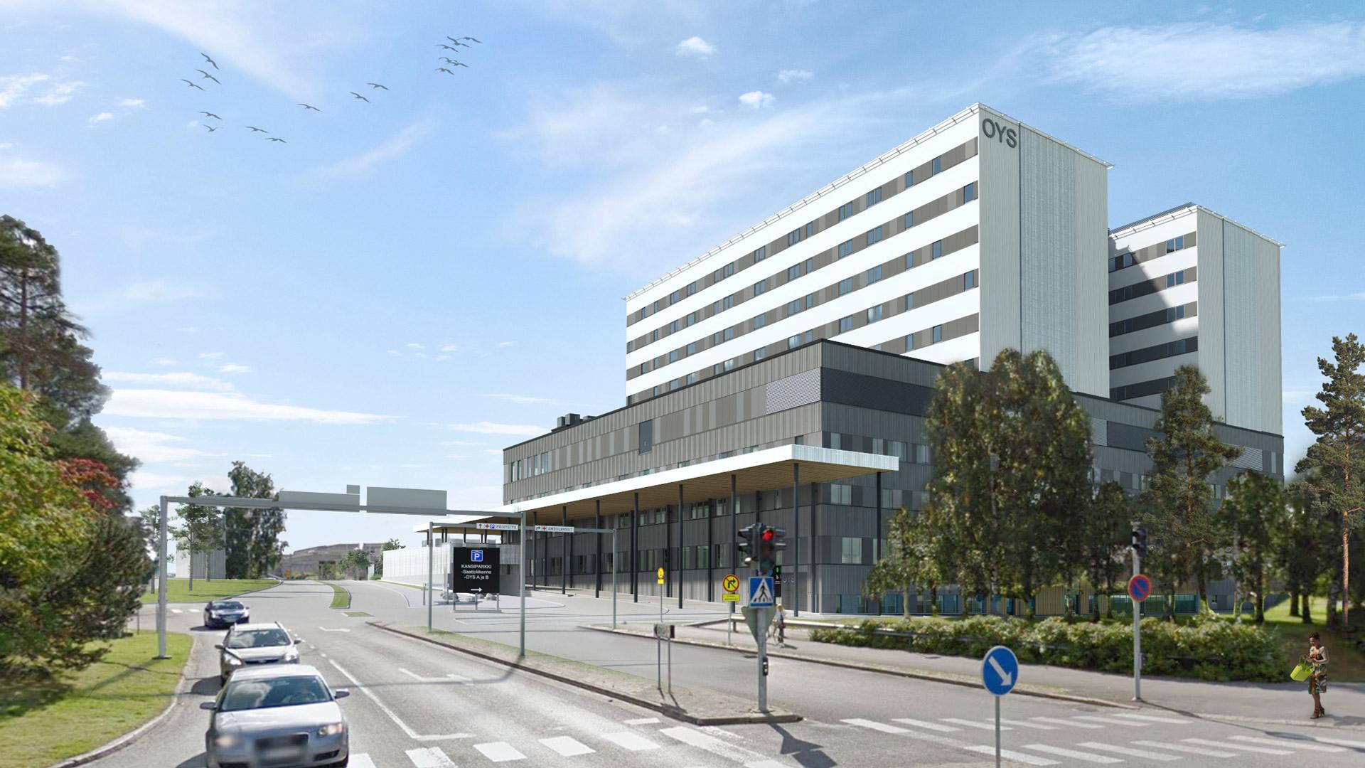 Havainnekuva OYS tulevaisuuden sairaalan ensimmäisen vaiheen suunnitelmista. Kuvassa ensimmäinen vaihe kuvattuna kajaanintieltä