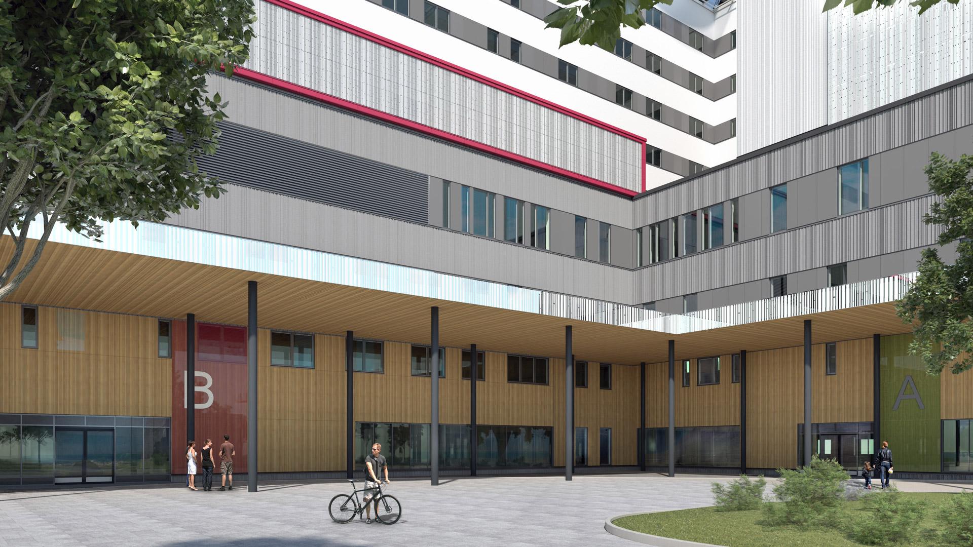Havainnekuva OYS tulevaisuuden sairaalan ensimmäisen vaiheen suunnitelmista. Kuvassa ensimmäinen vaiheen sisäänkäynti sisäpihan puolelta.